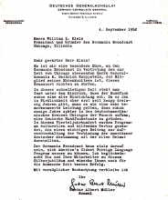 Letter of Congratulations from German Consulate in Chicago