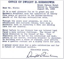 Letter from Dwight Eisenhower
